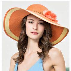 Wide brim sun hat with flower for women floppy straw hats striped pattern aa6e52fb30c1