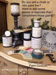 Our glazes, metallic paints, topcoats and textures compliment chalk and milk paints! Contact us, we are looking for shops to carry a mini selection of products Glazing Furniture, Painted Furniture, Paint Color Combos, Paint Colors, Milk Paint, Retail Shop, Metallic Paint, Compliments, Glaze