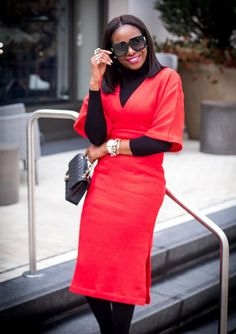 1a2a7845cd38 A chic way to layer your red midi dress for valentines day or for work.