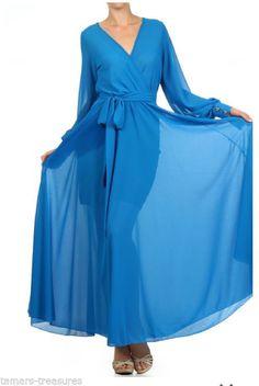 S * SHEER Blue Sky FULL SWEEP Chiffon MAXI DRESS Gown Long Wrap PARTY CRUISE vtg #tamarstreasures #Maxi #Formal