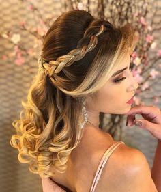 Ideas Hairstyles Party Curls Hair Tutorials For 2019 - Hair Styles Party Hairstyles For Long Hair, Quince Hairstyles, Long Face Hairstyles, Bride Hairstyles, Curls For Long Hair, Curls Hair, Hair Curling Tutorial, Pageant Hair, Hairdo Wedding