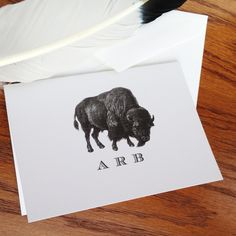 New to VeronicaFoleyDesign on Etsy: Bison or Buffalo Monogrammed or Personalized Stationery for Men - Set of 10 or more 100% Cotton Savoy (18.00 USD)