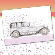 Wedding Car greetings card from Phoenix Trading £1.75 each or £1.40 when buying 10 or more. Wedding