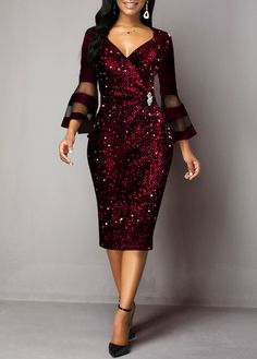 Holiday Cocktail Party Dress New Years Eve Dress Wine Red Sequin Bell Sleeve Midi Party Dress Sequin Detail Mesh Panel Flare Sleeve Sheath Dress Plus Size Dresses, Dresses For Sale, Trendy Dresses, Casual Dresses, Dress Sale, Women's Fashion Dresses, Dress Outfits, Fashion Clothes, New Years Eve Dresses