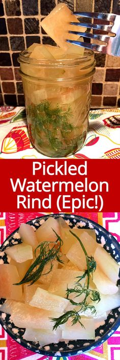 This pickled watermelon rind is amazing! Don't throw out watermelon rind ever again! This is the only watermelon rind pickles recipe you'll ever need! Pickled Watermelon Rind, Watermelon Pickles, Watermelon Recipes, Watermelon Rind Preserves, Watermelon Fruit, Homemade Pickles, Pickles Recipe, Edible Arrangements, Fermented Foods