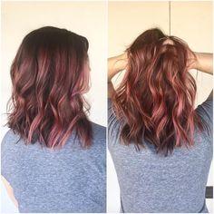 Dusty Rose with Pink Streaks Auburn Balayage, Balayage Hair, Light Auburn, Hair Color Auburn, Hair Inspiration, Hairstyle, Balayage, Auburn Hair Colors