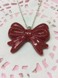 Ruby Red Glitter Bow Pendant Necklace by CandCBaby on Etsy