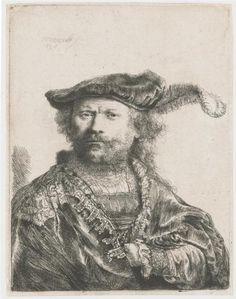 Rembrandt, Autoportret, Grafika, 1638 r., National Museum Wales