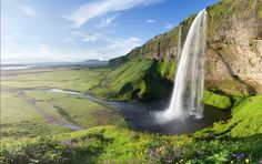 Sommer-Tal Cliff Wasserfall wallpapers