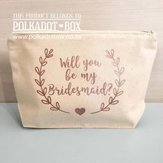 Bridesmaid Proposal Make up pouch for gifts South Africa - Polkadot Box Bridesmaid Proposal, Bridesmaids, Vanity Bag, Will You Be My Bridesmaid, Blush Roses, Bridal Make Up, Maid Of Honor, Event Decor, Mother Of The Bride