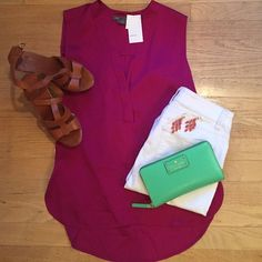 NWT Vince raspberry silk blouse Adorable top that can be dressed down with a pair of jeans and sandals or can wear it to work to add a pop of color to your work outfit! Very comfortable and light! 🔹 I love to offer bundle discounts! 🔹No trades. Please use the offer button to submit offers! Vince Tops Blouses