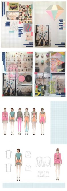 """Fashion Sketchbook - geometric fashion design & concept development for the chalky pastel, gem-inspired """"Facets"""" collection; fashion portfolio // Nancy Robinson"""