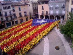 Estelada humana a Igualada / Human 'Estelada', the flag of Catalan independence, in Igualada (18/05/13) foto d'@ajIgualada