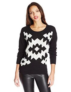 Kensie Womens GeometricPrint SweaterBlack ComboXLarge * Click image for more details.