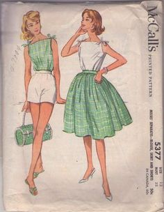 MOMSPatterns Vintage Sewing Patterns - McCall's 5377 Vintage 60's Sewing Pattern SUMMER SIZZLER Rockabilly Pinup Girl Bateau Neck Shoulder Ties Top, Blouse, High Waisted Shorts, Gathered Skirt Size 12