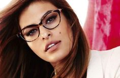 FACE SHAPE: SQUARE People with square faces (like Eva Mendes, seen here wearing Vogue) should opt for rounded or oval glasses, to soften their natural angles.