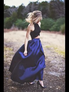 Flowing stylish cobalt blue