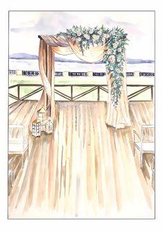 Заказать профессиональный эскиз оформления свадьбы или любого другого мероприятия. Иллюстратор Таисия Дейнега. Художник. Wedding illustration. Свадебный эскиз.