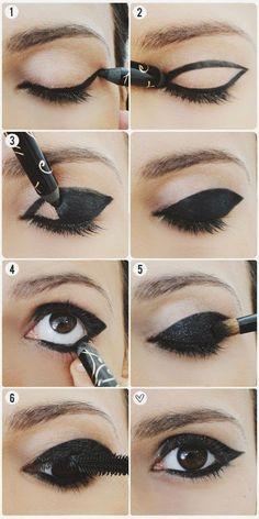 Negro Brillante Párpados Maquillaje - USA tendencias de la moda