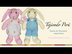 Conejos tejidos en dos agujas o palillos (Parte 2: cuerpo) - YouTube