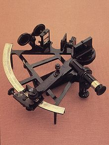 Sextant - used in the past as an essential part of celestral navigation. Common uses of the sextant include sighting the sun at solar noon and sighting Polaris at night (in the Northern Hemishere), to find one's latitude. A Sextant can also be used to measure the luner distance between the moon and another celestrail object in order to determine Geenwich time which is important as it can tell you the Longitude.