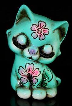 Vintage Collectible Turquoise Ceramic Cat by gifthorsevintage, $58.00