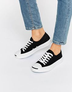 Image 1 ofConverse Jack Purcell Black Canvas Trainers