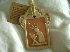 Terra Cotta Ceramic Creche Christmas ornament by RedPlumPottery, $10.00