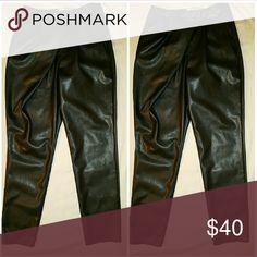 Vegan Leather Pants Vegan leather pants with buckle detail. No back or side pockets. Straight leg comfortable fit. Slight stretch Pants Straight Leg
