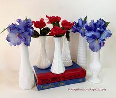 Red, White, and Blue for summer holidays! Mix-and-Match milk glass at #VintageVenturesShop #Etsy. To buy click image #MilkGlass #Vintage #VintageMilkGlass #MilkGlassVases #VintageVases #BudVases #WeddingVases #ShabbyDecor #CottageDecor #MidCenturyModern #WeddingDecoration #BridalShower #InstantCollectionMilkGlass #RedWhiteBlue #MemorialDay #July4 #IndependenceDay #CottageChic #ShabbyChic #FarmhouseStyle #FixerUpper #DanielleSteel #Fiction #VintageBooks #Novels #Reading