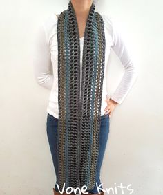 Skinny Scarf, Crochet Skinny Scarf, Multi Color, Gifts Under 25, Gift For Her, ExtraLong Scarf, Summer Scarf, Summer Scarves, Skinny Scarves by VoneKnits on Etsy
