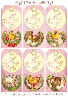 Wings of Whimsy: Vintage Easter Greeting Tags - free for personal use