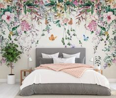 Colorful Flowers and Leaves Floral Wallpaper Bedroom Living Room Cafe Restaurant Mural Home Decor Wall Art Materials; Peel and Stick Vinyl or Non-Woven Embossed removable Wallpaper FEATURES: Wallpaper; Mural Floral, Flower Mural, Floral Wall, Art Floral, Custom Wallpaper, Wall Wallpaper, Wallpaper For House, Flower Wallpaper, Wallpaper For Bedroom Walls
