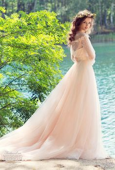 papilio 2017 bridal long sleeves off the shoulder sweetheart neckline heavily embellished bodice peach color romantic a line wedding dress chapel train (cockatiel) bv -- Papilio 2017 Wedding Dresses