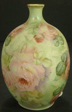 Royal Bayreuth rose tapestry porcelain vase