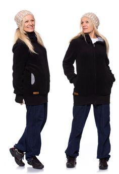 Viva la Mama | Baby Carrying Jacket ARCTICA (3in1- black, winter fleece). Super warm and cozy coat for pregnancy, maternity, baby wearing and everyday use. The baby will be save and warm in this beautiful baby wearing jacket. A perfect present for birth or baby shower. :)