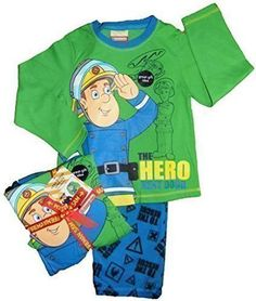Herrlicher Feuerwehrmann Sam Pyjama Jungen Schlafanzug Geschenkband Präsentation Größen 86 Bis 110 - Grün, 86-92 #pyjamas #covetme #firemansam