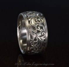 12mm engraved damascus wedding band