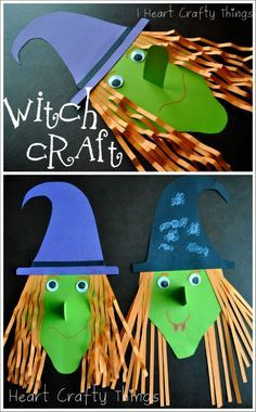 Adorable and fun Witch Craft for Kids. I love that 3-D nose on it too. Such a perfect Halloween Craft for Kids.