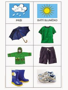 Pro Štípu: Pocasi - obrazky Preschool Learning Activities, Fun Activities For Kids, Kindergarten Worksheets, Montessori Materials, Teaching Materials, Childhood Education, Kids Education, Clothes Worksheet, Weather For Kids