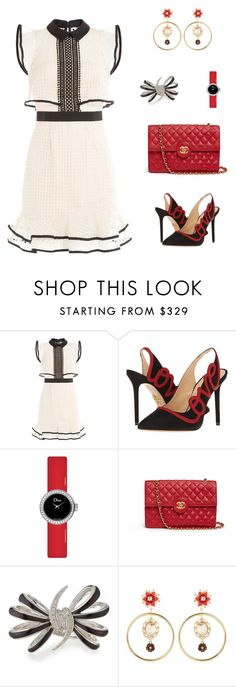 """""""Untitled #2182"""" by bushphawan ❤ liked on Polyvore featuring self-portrait, Charlotte Olympia, Dior Timepieces, Chanel, Stephen Webster and Dolce&Gabbana"""
