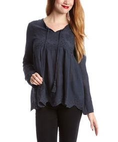 Of Two Minds Slate Embroidered Peasant Top - Women | zulily