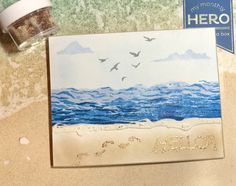 Here's a beach scene! June kit - love the sand embossing powder! Card Kit, Card Tags, Hero Arts Cards, Beach Cards, Wink Of Stella, Embossing Powder, Sea Theme, Paper Flowers Diy, Happy Summer