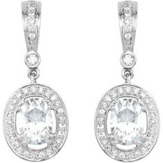 66934 / 14K White / PAIR 1/3 CT TW/7X5 MM SEMI / Polished / DIAMOND EARRINGS SEMI-MOUNT