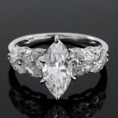 3.25ct VVS1 Marquise Diamond Sterling Silver Solitaire Engagement Ring #Diamontjewels #SolitaireRing