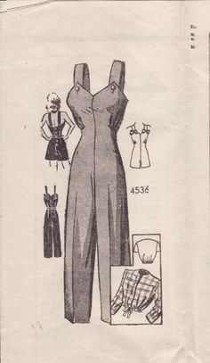 Anne Adams 4536 1940s overalls, playsuit, & jacket