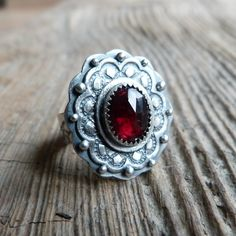 Faceted Garnet Ring in Oxidised Sterling Silver - Victoriana Ring in Garnet.