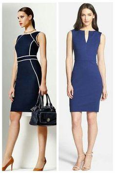 Love the dark blue and white dress Simple Dresses, Pretty Dresses, Casual Dresses, Short Dresses, Dresses For Work, Couture Dresses, Fashion Dresses, Work Fashion, Fashion Design