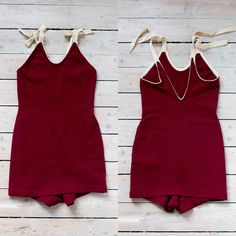 """{ Sold } Rare 1920s 30s maroon wool bathing suit in an amazing condition! Cream colored trims and straps. Label reads """"Beach Mate  MFG BY BERGMAN KTO MILLS  French spun Zephya 100% wool"""". Fits many sizes because of stretch, approx Xs to a small M. Bust measures 30"""" (without stretch), waist 11.8"""" (without stretch). Length without straps 26.8"""", length strap 12.2"""". Dm to purchase!"""