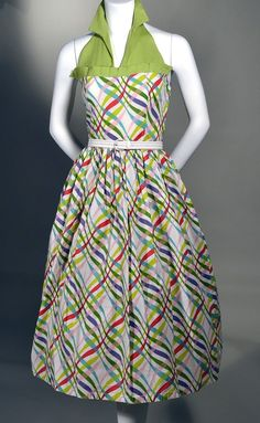 1950s Vintage Chartreuse Rayon and Festive Ribbon Print Halter Sun Dress